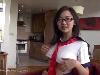 18 yo Japanese schoolgirl touching herself >3 min